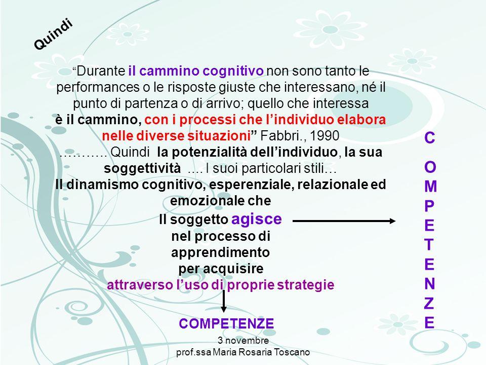 3 novembre prof.ssa Maria Rosaria Toscano Durante il cammino cognitivo non sono tanto le performances o le risposte giuste che interessano, né il punt