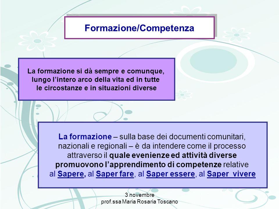 3 novembre prof.ssa Maria Rosaria Toscano Formazione/Competenza La formazione – sulla base dei documenti comunitari, nazionali e regionali – è da inte