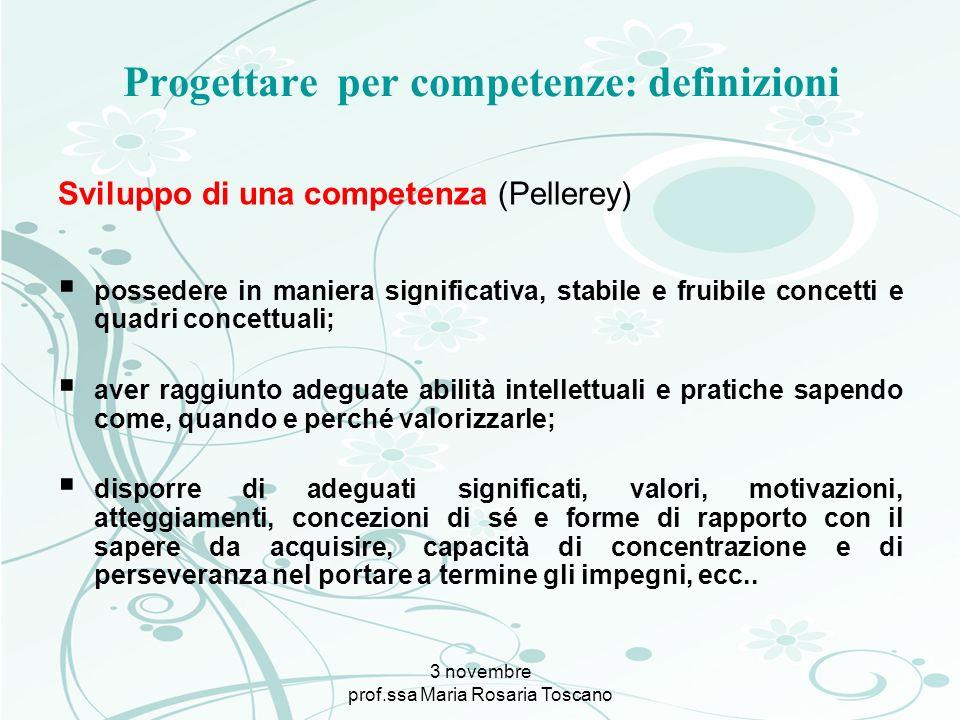 3 novembre prof.ssa Maria Rosaria Toscano Progettare per competenze: definizioni Sviluppo di una competenza (Pellerey) possedere in maniera significat