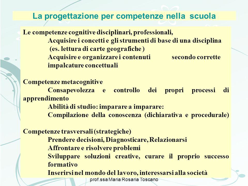 3 novembre prof.ssa Maria Rosaria Toscano La progettazione per competenze nella scuola Le competenze cognitive disciplinari, professionali, Acquisire