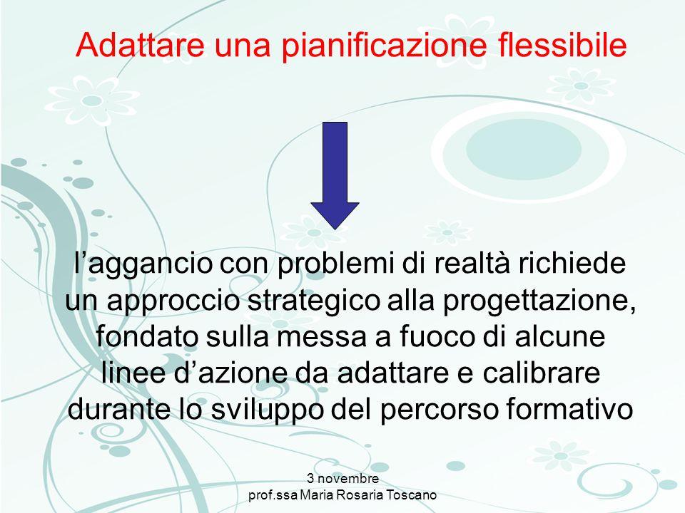 3 novembre prof.ssa Maria Rosaria Toscano laggancio con problemi di realtà richiede un approccio strategico alla progettazione, fondato sulla messa a