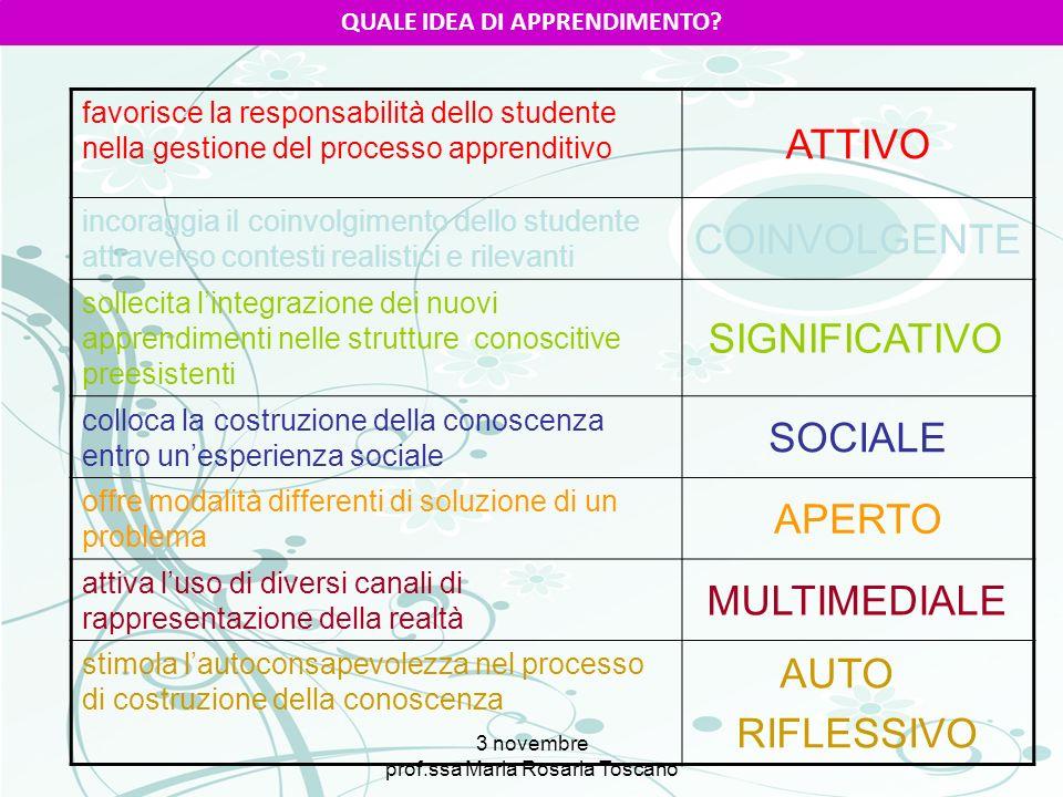 3 novembre prof.ssa Maria Rosaria Toscano QUALE IDEA DI APPRENDIMENTO? favorisce la responsabilità dello studente nella gestione del processo apprendi