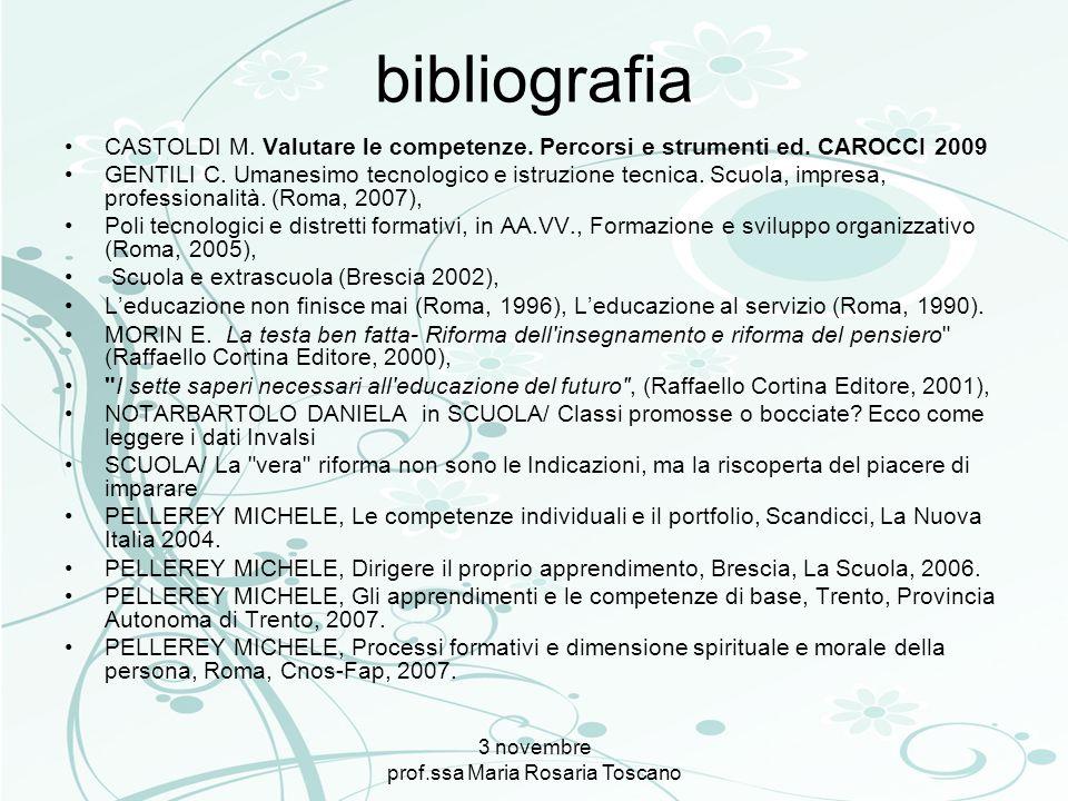 bibliografia CASTOLDI M. Valutare le competenze. Percorsi e strumenti ed. CAROCCI 2009 GENTILI C. Umanesimo tecnologico e istruzione tecnica. Scuola,