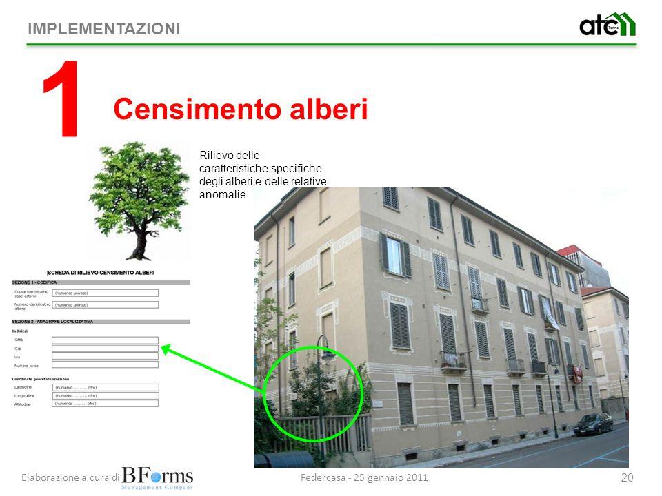 Federcasa - 25 gennaio 2011Elaborazione a cura di 20 Rilievo delle caratteristiche specifiche degli alberi e delle relative anomalie IMPLEMENTAZIONI 1 Censimento alberi