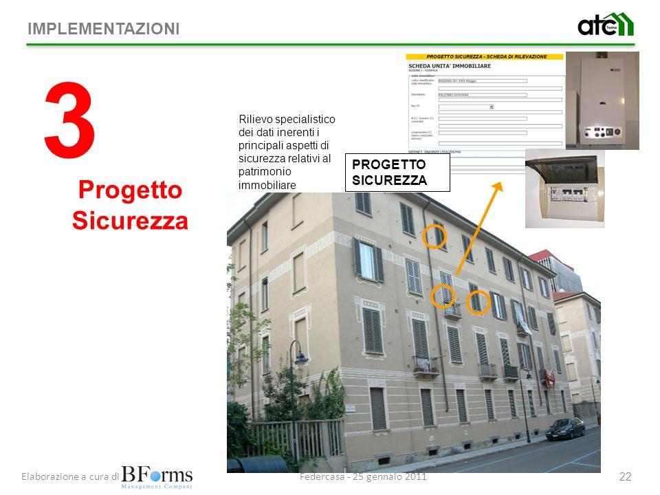 Federcasa - 25 gennaio 2011Elaborazione a cura di 22 PROGETTO SICUREZZA Rilievo specialistico dei dati inerenti i principali aspetti di sicurezza relativi al patrimonio immobiliare 3 Progetto Sicurezza IMPLEMENTAZIONI