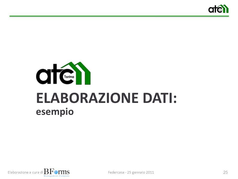 Federcasa - 25 gennaio 2011Elaborazione a cura di 25 ELABORAZIONE DATI: esempio