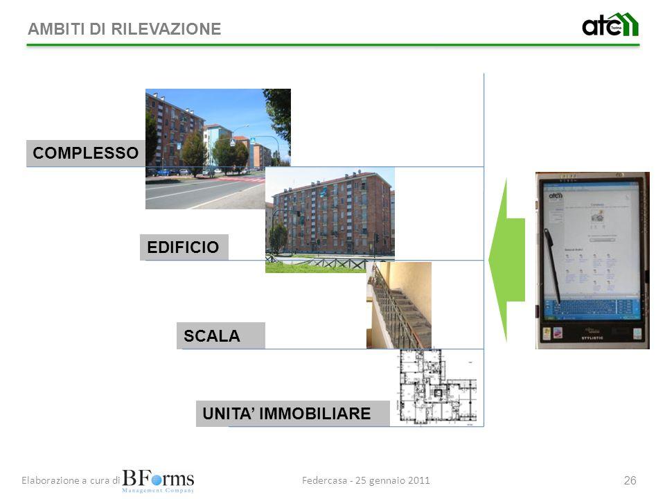 Federcasa - 25 gennaio 2011Elaborazione a cura di 26 COMPLESSO UNITA IMMOBILIARE AMBITI DI RILEVAZIONE EDIFICIO SCALA