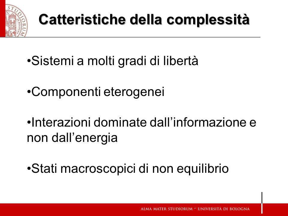 Catteristiche della complessità Sistemi a molti gradi di libertà Componenti eterogenei Interazioni dominate dallinformazione e non dallenergia Stati m