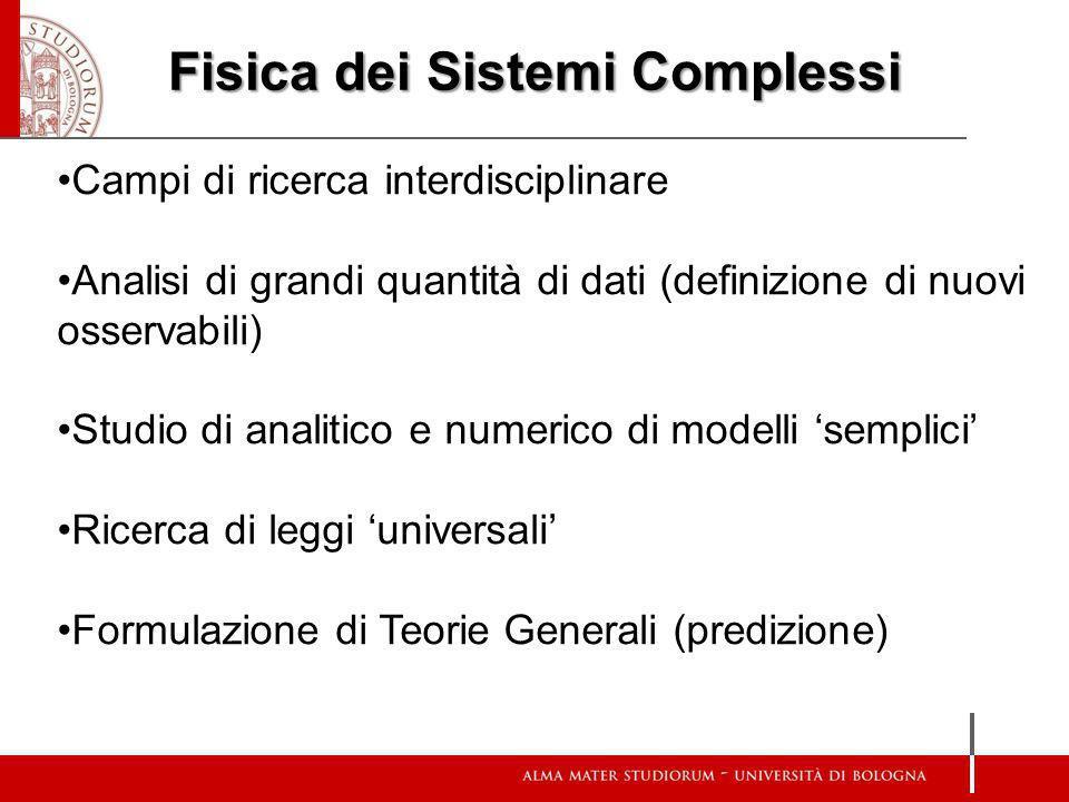 Fisica dei Sistemi Complessi Campi di ricerca interdisciplinare Analisi di grandi quantità di dati (definizione di nuovi osservabili) Studio di analit