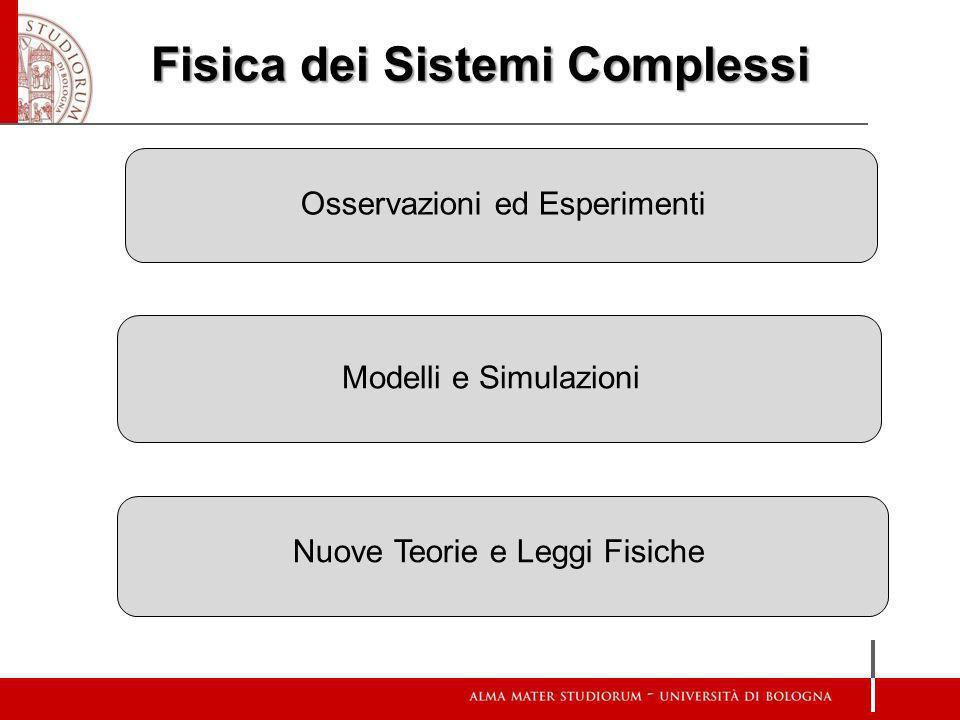 Fisica dei Sistemi Complessi Osservazioni ed Esperimenti Modelli e Simulazioni Nuove Teorie e Leggi Fisiche