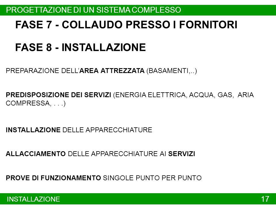PROBLEMI EMERGENTI INSTALLAZIONE 17 FASE 7 - COLLAUDO PRESSO I FORNITORI FASE 8 - INSTALLAZIONE PREPARAZIONE DELLAREA ATTREZZATA (BASAMENTI,..) PREDISPOSIZIONE DEI SERVIZI (ENERGIA ELETTRICA, ACQUA, GAS, ARIA COMPRESSA,...) INSTALLAZIONE DELLE APPARECCHIATURE ALLACCIAMENTO DELLE APPARECCHIATURE AI SERVIZI PROVE DI FUNZIONAMENTO SINGOLE PUNTO PER PUNTO PROGETTAZIONE DI UN SISTEMA COMPLESSO