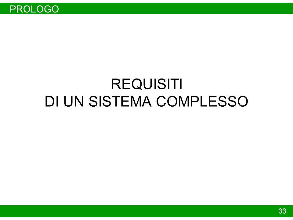 PROLOGO 33 REQUISITI DI UN SISTEMA COMPLESSO
