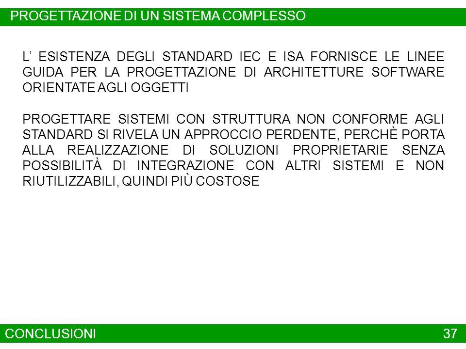 CONCLUSIONI37 L ESISTENZA DEGLI STANDARD IEC E ISA FORNISCE LE LINEE GUIDA PER LA PROGETTAZIONE DI ARCHITETTURE SOFTWARE ORIENTATE AGLI OGGETTI PROGET