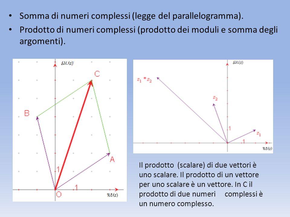 Somma di numeri complessi (legge del parallelogramma). Prodotto di numeri complessi (prodotto dei moduli e somma degli argomenti). Il prodotto (scalar