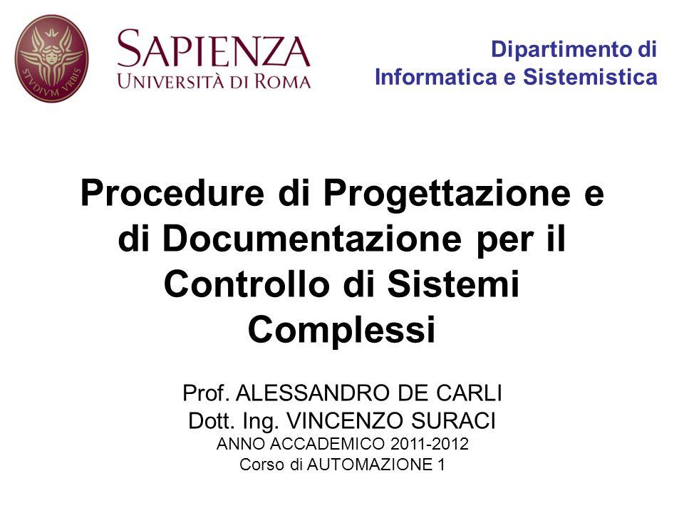 Dipartimento di Informatica e Sistemistica Procedure di Progettazione e di Documentazione per il Controllo di Sistemi Complessi Prof. ALESSANDRO DE CA