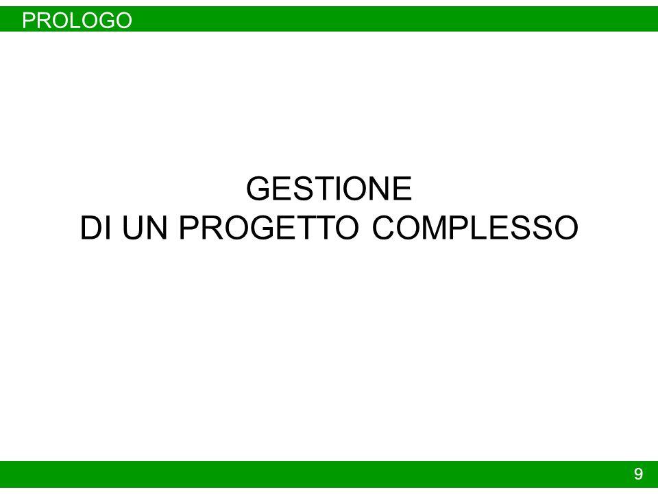 PROLOGO 9 GESTIONE DI UN PROGETTO COMPLESSO