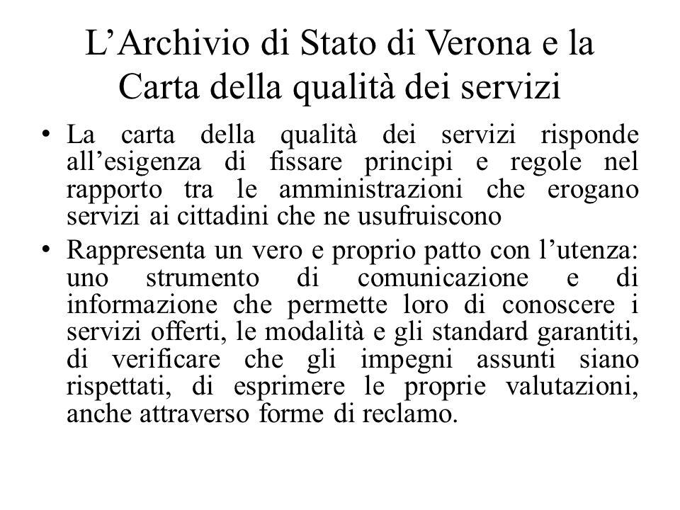 LArchivio di Stato di Verona e la Carta della qualità dei servizi La carta della qualità dei servizi risponde allesigenza di fissare principi e regole