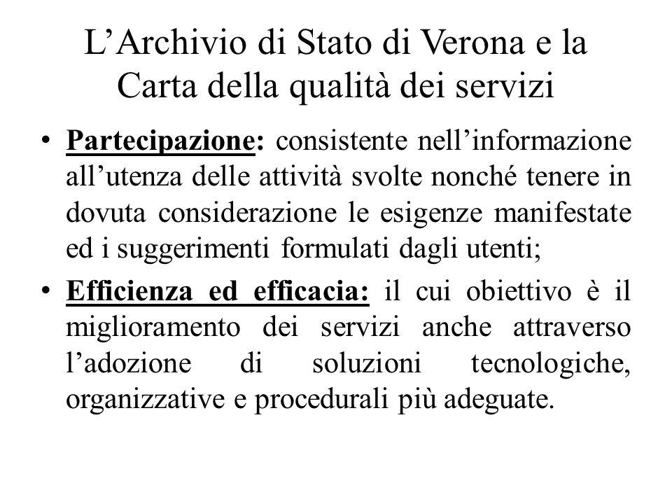 LArchivio di Stato di Verona e la Carta della qualità dei servizi Partecipazione: consistente nellinformazione allutenza delle attività svolte nonché