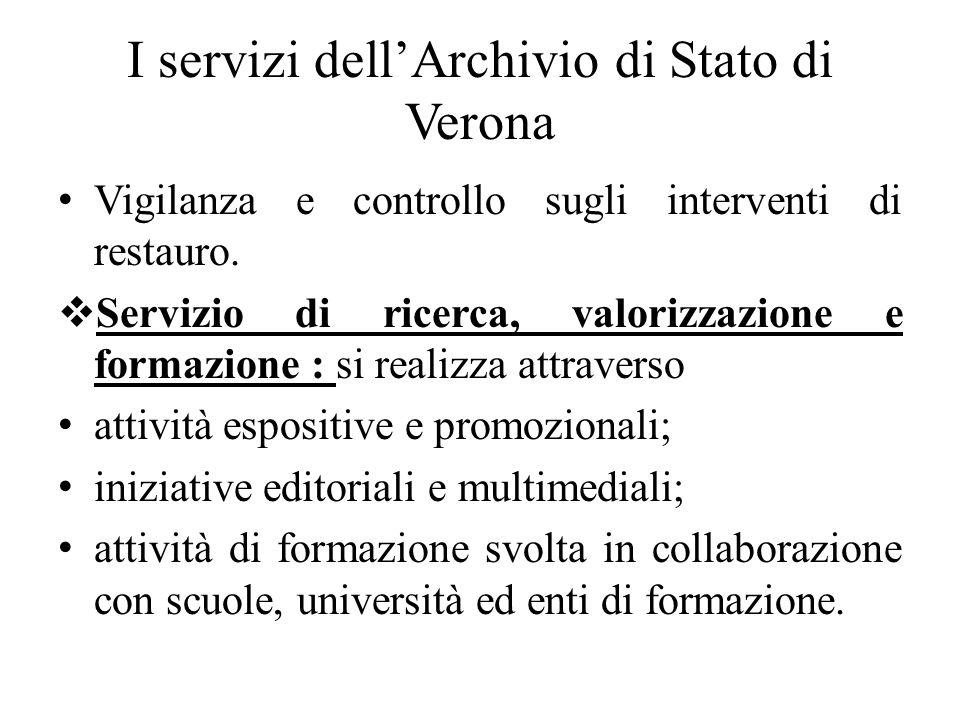 I servizi dellArchivio di Stato di Verona Vigilanza e controllo sugli interventi di restauro. Servizio di ricerca, valorizzazione e formazione : si re