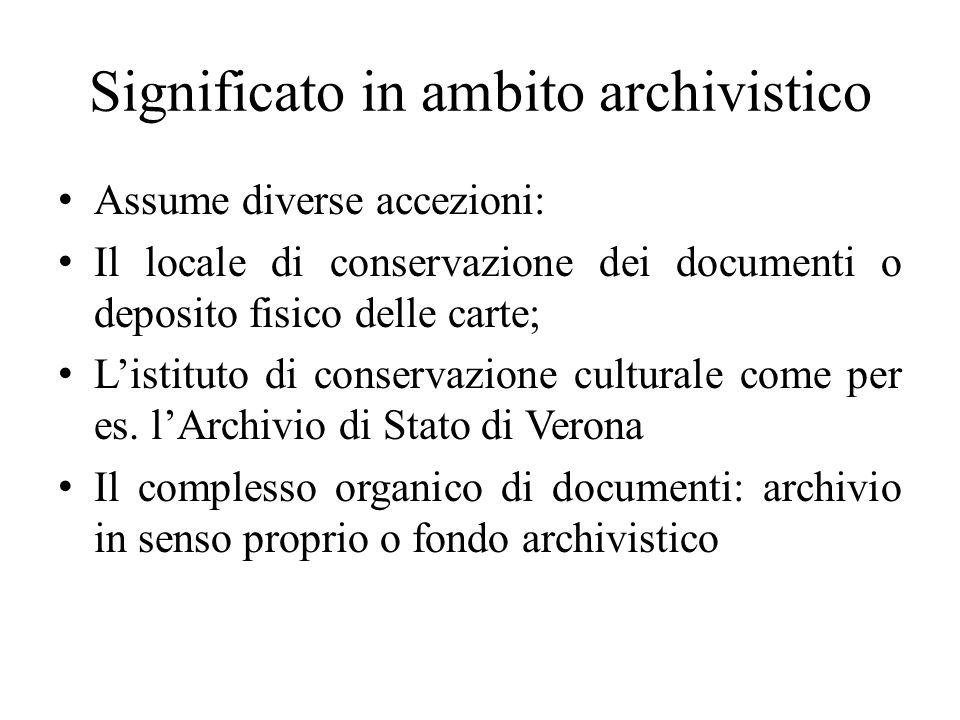 Significato in ambito archivistico Assume diverse accezioni: Il locale di conservazione dei documenti o deposito fisico delle carte; Listituto di cons