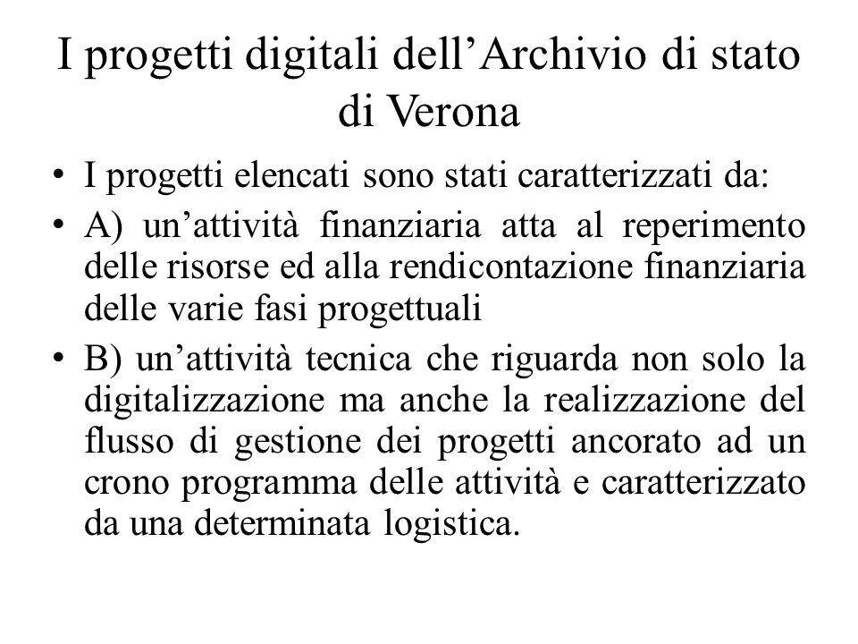 I progetti digitali dellArchivio di stato di Verona I progetti elencati sono stati caratterizzati da: A) unattività finanziaria atta al reperimento de