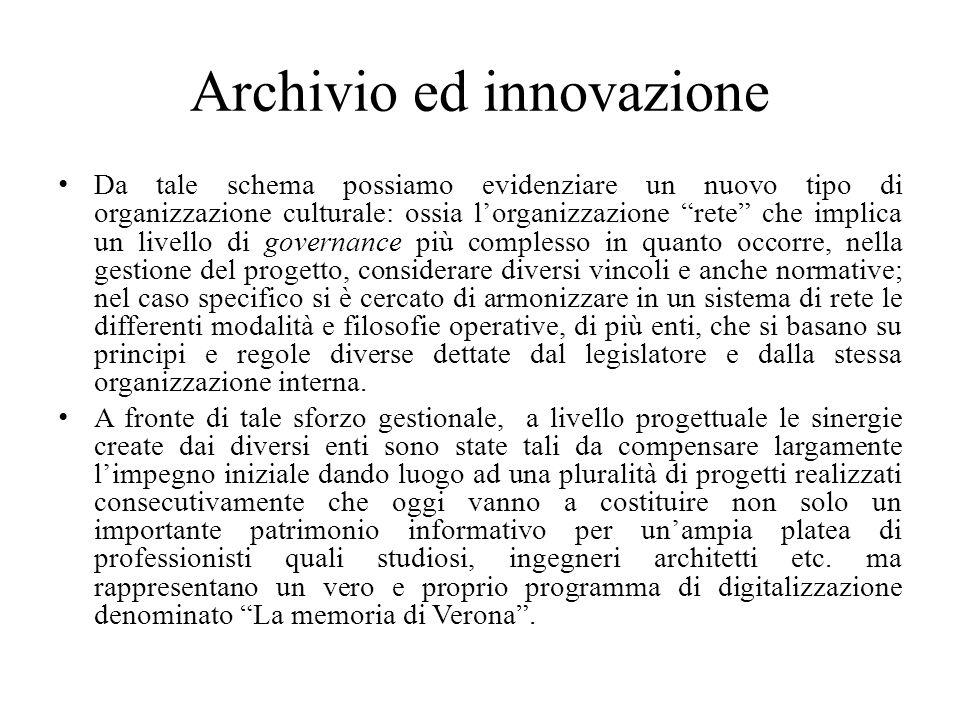 Archivio ed innovazione Da tale schema possiamo evidenziare un nuovo tipo di organizzazione culturale: ossia lorganizzazione rete che implica un livel