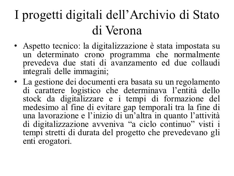 I progetti digitali dellArchivio di Stato di Verona Aspetto tecnico: la digitalizzazione è stata impostata su un determinato crono programma che norma