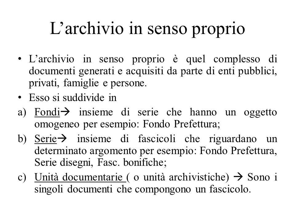 Larchivio in senso proprio Larchivio in senso proprio è quel complesso di documenti generati e acquisiti da parte di enti pubblici, privati, famiglie