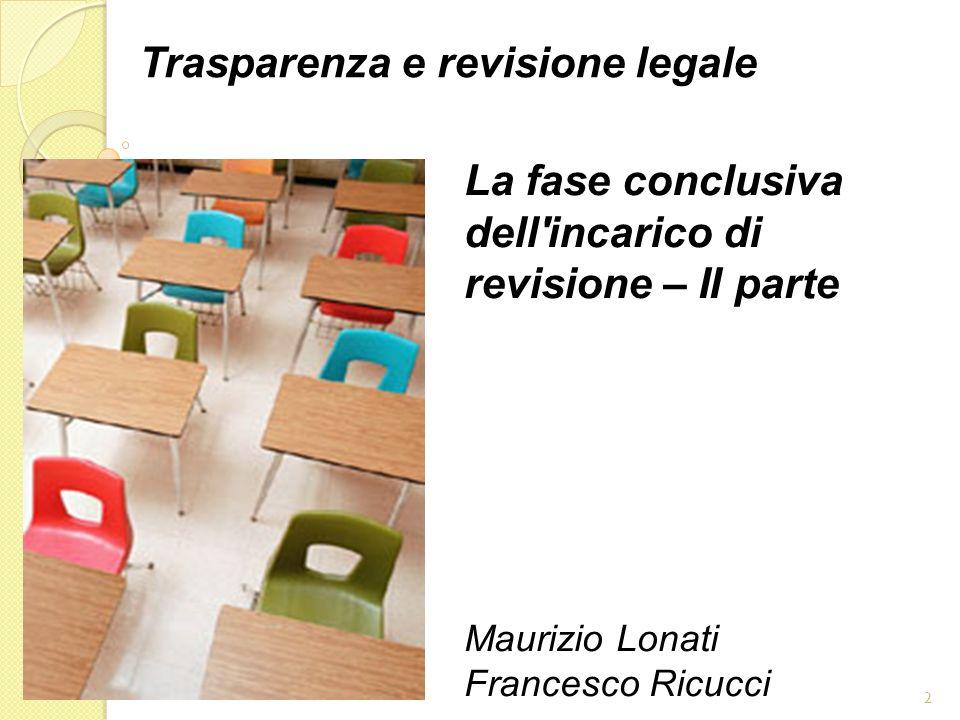 2 Trasparenza e revisione legale La fase conclusiva dell'incarico di revisione – II parte Maurizio Lonati Francesco Ricucci