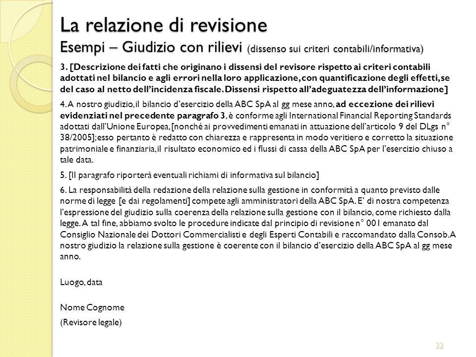 22 La relazione di revisione Esempi – Giudizio con rilievi (dissenso sui criteri contabili/informativa) 3. [Descrizione dei fatti che originano i diss
