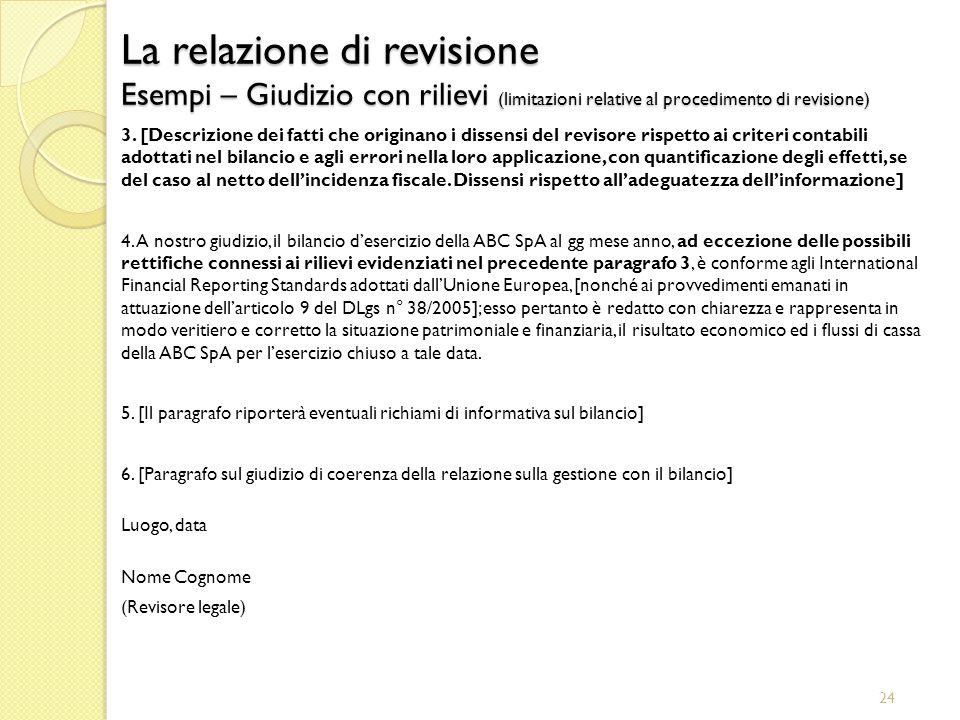 24 La relazione di revisione Esempi – Giudizio con rilievi (limitazioni relative al procedimento di revisione) 3. [Descrizione dei fatti che originano