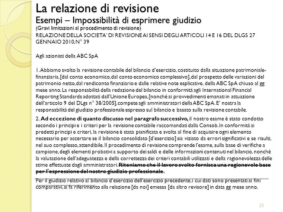 25 La relazione di revisione Esempi – Impossibilità di esprimere giudizio (Gravi limitazioni al procedimento di revisione) RELAZIONE DELLA SOCIETA DI