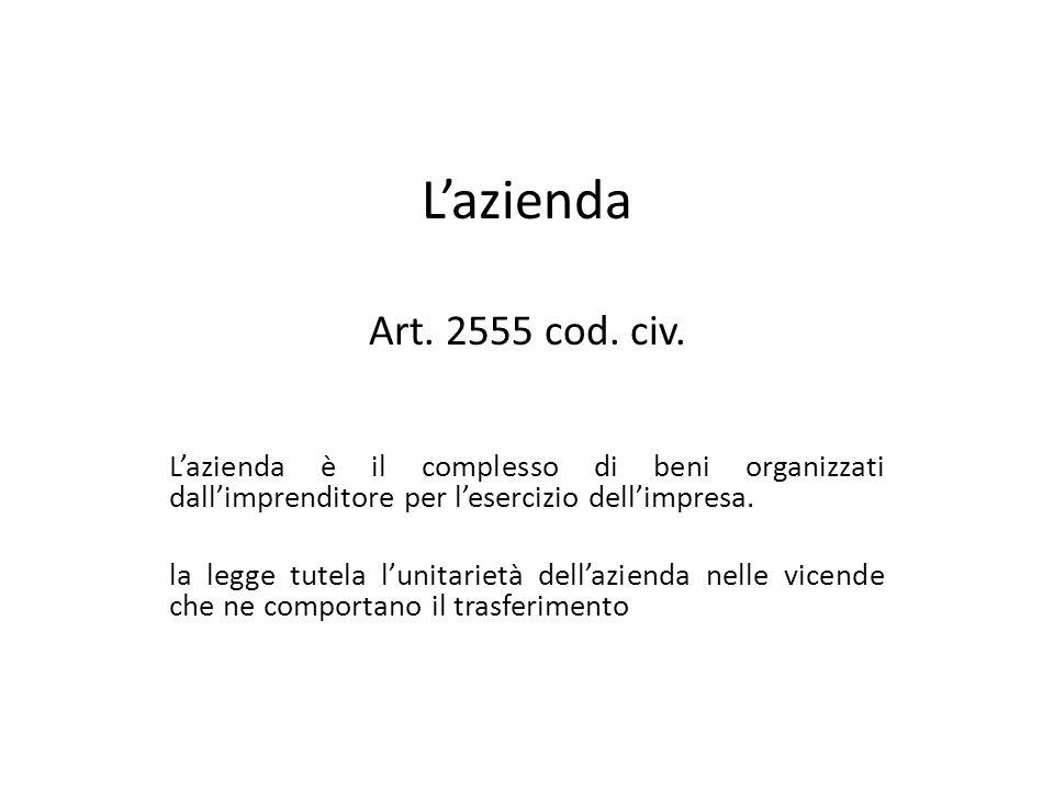 Lazienda Art. 2555 cod. civ. Lazienda è il complesso di beni organizzati dallimprenditore per lesercizio dellimpresa. la legge tutela lunitarietà dell
