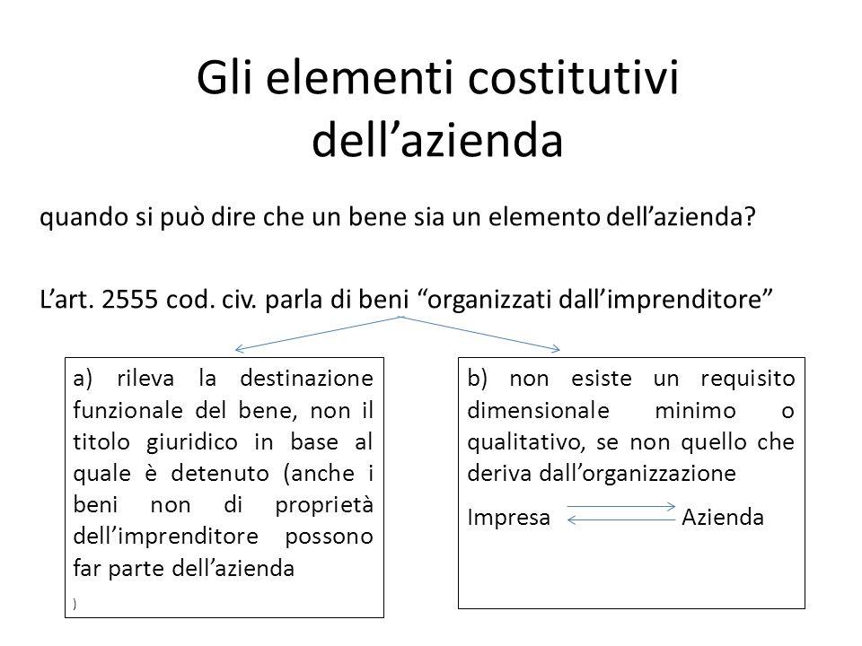 Il trasferimento dellazienda Azienda = insieme di beni potenzialmente idoneo allesercizio di unattività dimpresa.