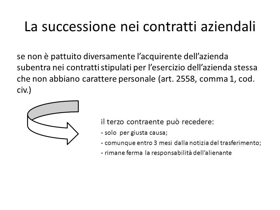 La successione nei contratti aziendali se non è pattuito diversamente lacquirente dellazienda subentra nei contratti stipulati per lesercizio dellazie