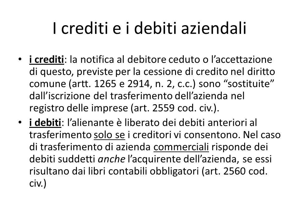 I crediti e i debiti aziendali i crediti: la notifica al debitore ceduto o laccettazione di questo, previste per la cessione di credito nel diritto co