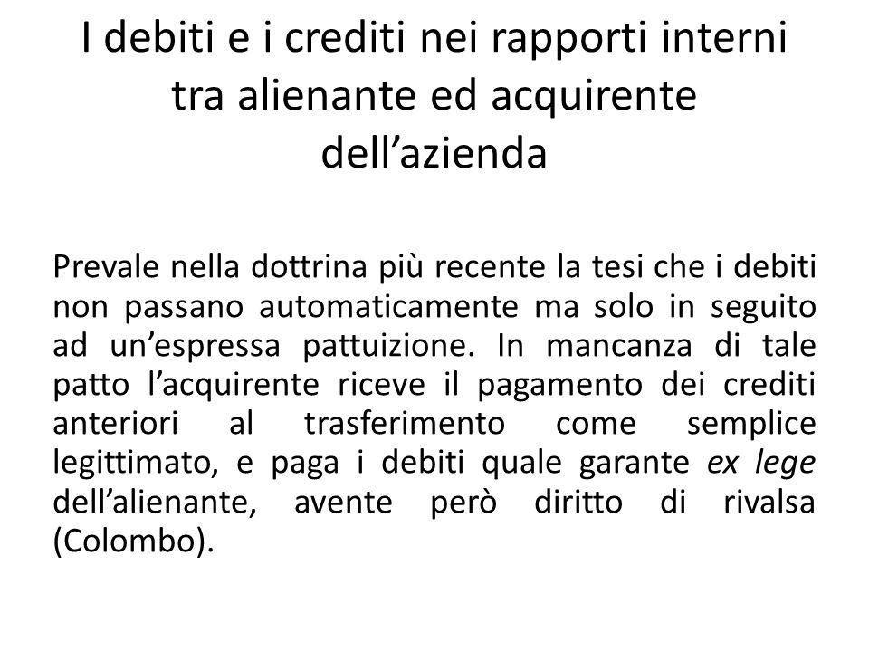 I debiti e i crediti nei rapporti interni tra alienante ed acquirente dellazienda Prevale nella dottrina più recente la tesi che i debiti non passano