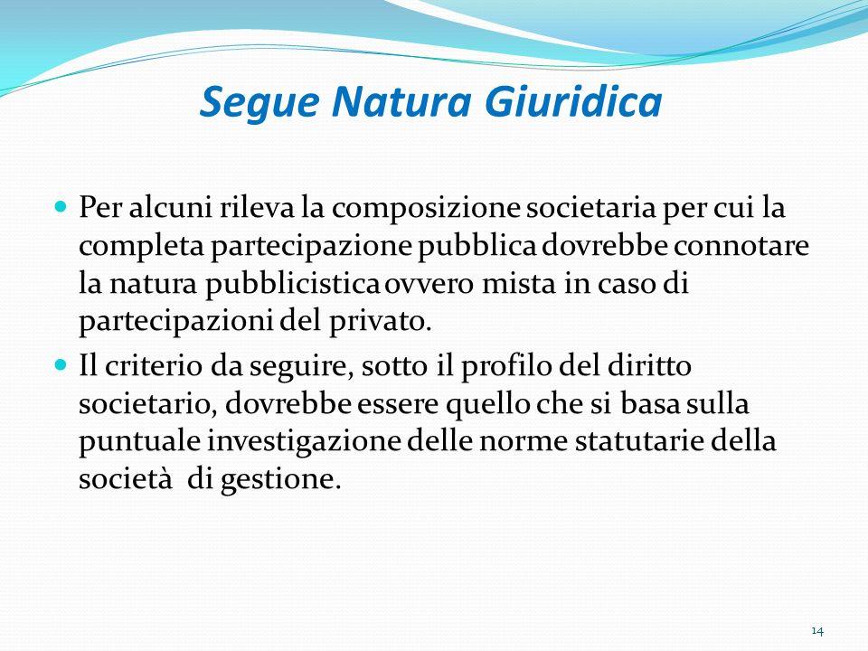 Segue Natura Giuridica Per alcuni rileva la composizione societaria per cui la completa partecipazione pubblica dovrebbe connotare la natura pubblicistica ovvero mista in caso di partecipazioni del privato.