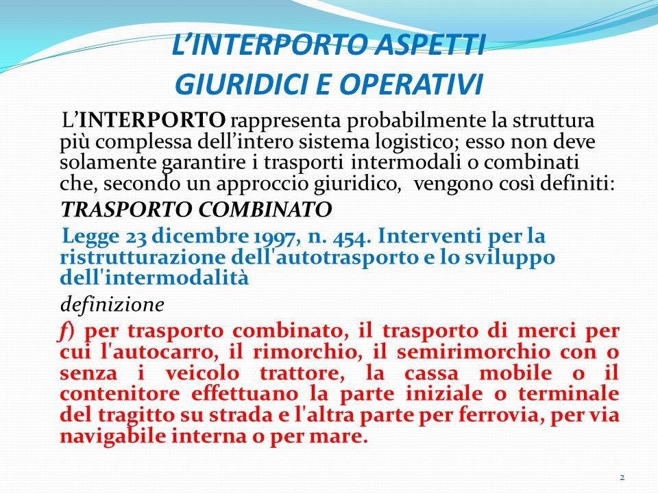 LINTERPORTO ASPETTI GIURIDICI E OPERATIVI LINTERPORTO rappresenta probabilmente la struttura più complessa dellintero sistema logistico; esso non deve