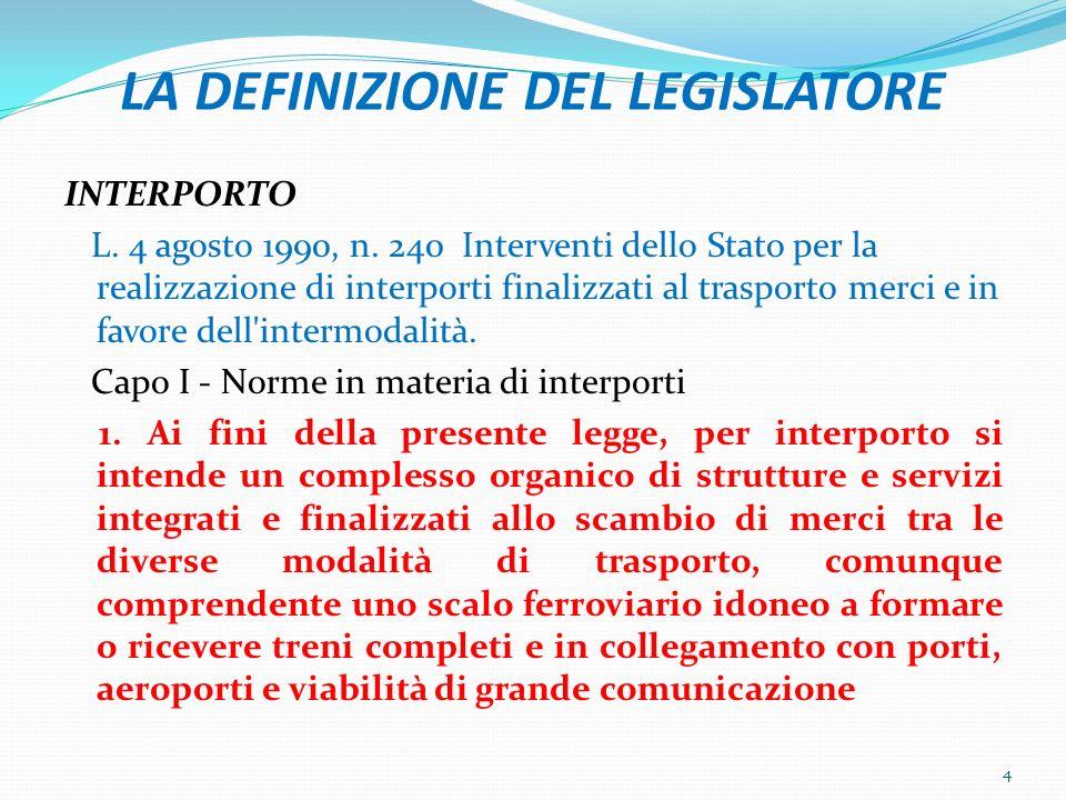 LA DEFINIZIONE DEL LEGISLATORE INTERPORTO L. 4 agosto 1990, n. 240 Interventi dello Stato per la realizzazione di interporti finalizzati al trasporto