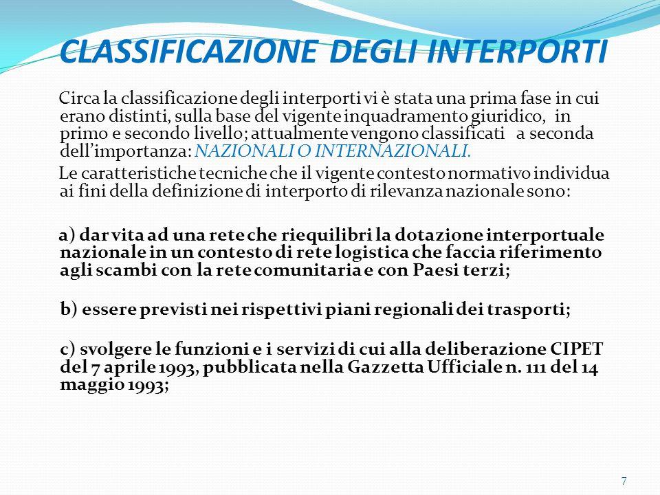 CLASSIFICAZIONE DEGLI INTERPORTI Circa la classificazione degli interporti vi è stata una prima fase in cui erano distinti, sulla base del vigente inquadramento giuridico, in primo e secondo livello; attualmente vengono classificati a seconda dellimportanza: NAZIONALI O INTERNAZIONALI.