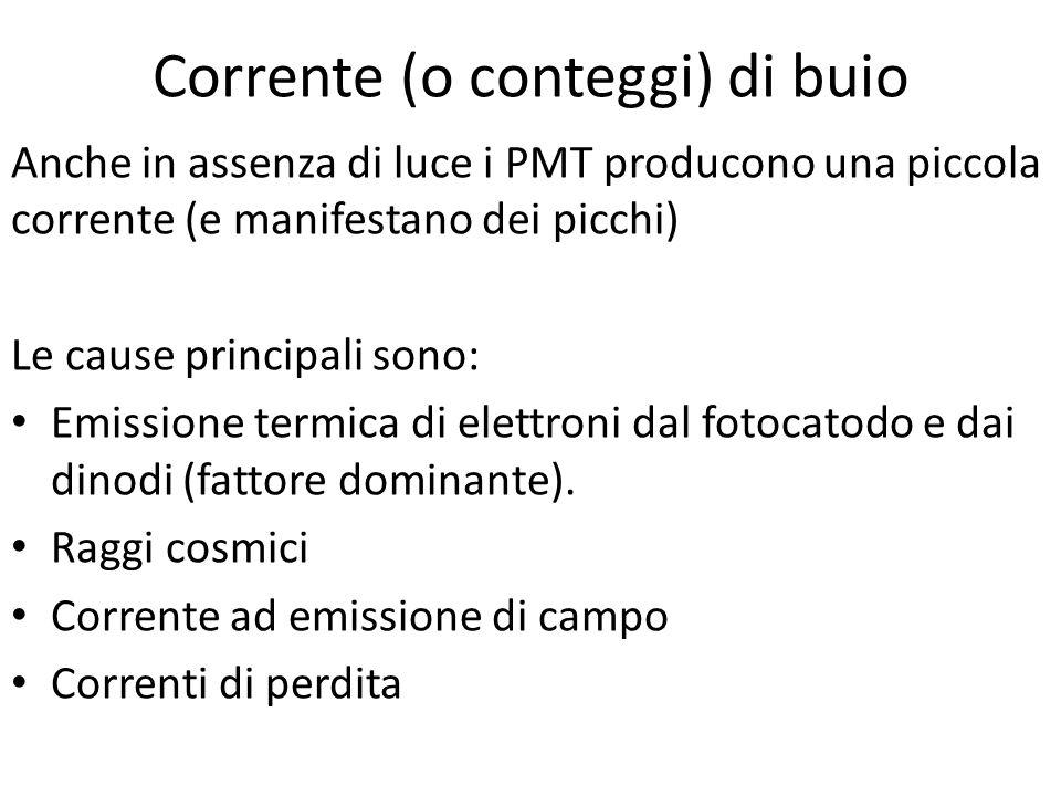 Corrente (o conteggi) di buio Anche in assenza di luce i PMT producono una piccola corrente (e manifestano dei picchi) Le cause principali sono: Emiss