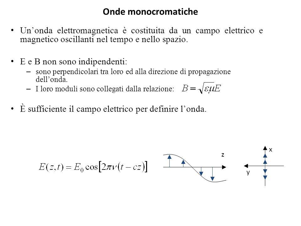 Onde monocromatiche Unonda elettromagnetica è costituita da un campo elettrico e magnetico oscillanti nel tempo e nello spazio. E e B non sono indipen