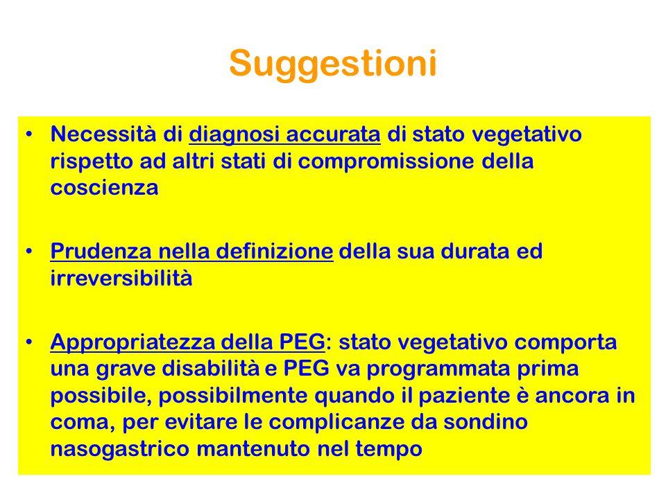 Suggestioni Necessità di diagnosi accurata di stato vegetativo rispetto ad altri stati di compromissione della coscienza Prudenza nella definizione de