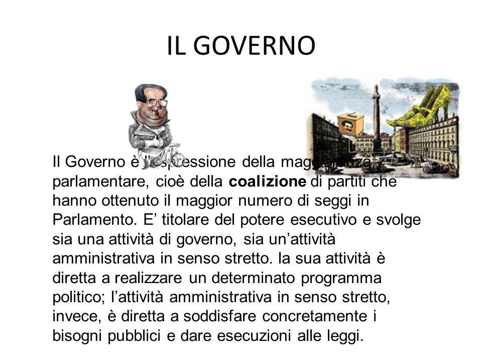 IL GOVERNO Il Governo è l'espressione della maggioranza parlamentare, cioè della coalizione di partiti che hanno ottenuto il maggior numero di seggi i