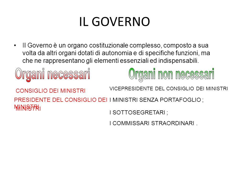 IL GOVERNO Il Governo è un organo costituzionale complesso, composto a sua volta da altri organi dotati di autonomia e di specifiche funzioni, ma che