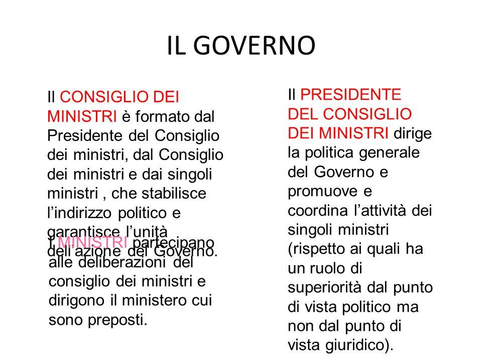 IL GOVERNO Il CONSIGLIO DEI MINISTRI è formato dal Presidente del Consiglio dei ministri, dal Consiglio dei ministri e dai singoli ministri, che stabi