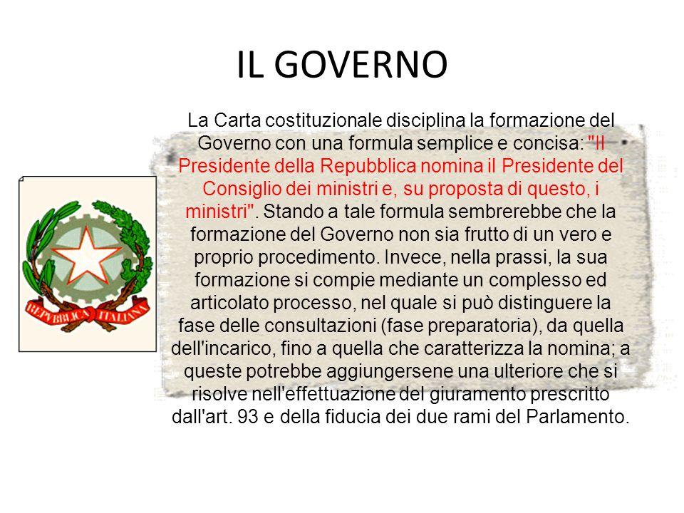 IL GOVERNO La Carta costituzionale disciplina la formazione del Governo con una formula semplice e concisa: