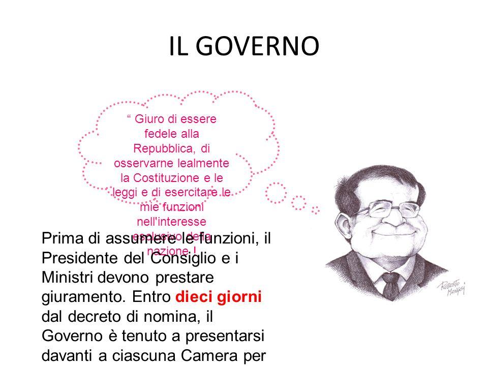 IL GOVERNO Giuro di essere fedele alla Repubblica, di osservarne lealmente la Costituzione e le leggi e di esercitare le mie funzioni nell'interesse e