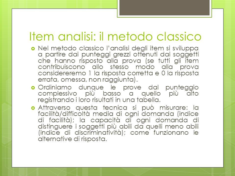 Item analisi: il metodo classico Nel metodo classico lanalisi degli item si sviluppa a partire dai punteggi grezzi ottenuti dai soggetti che hanno ris